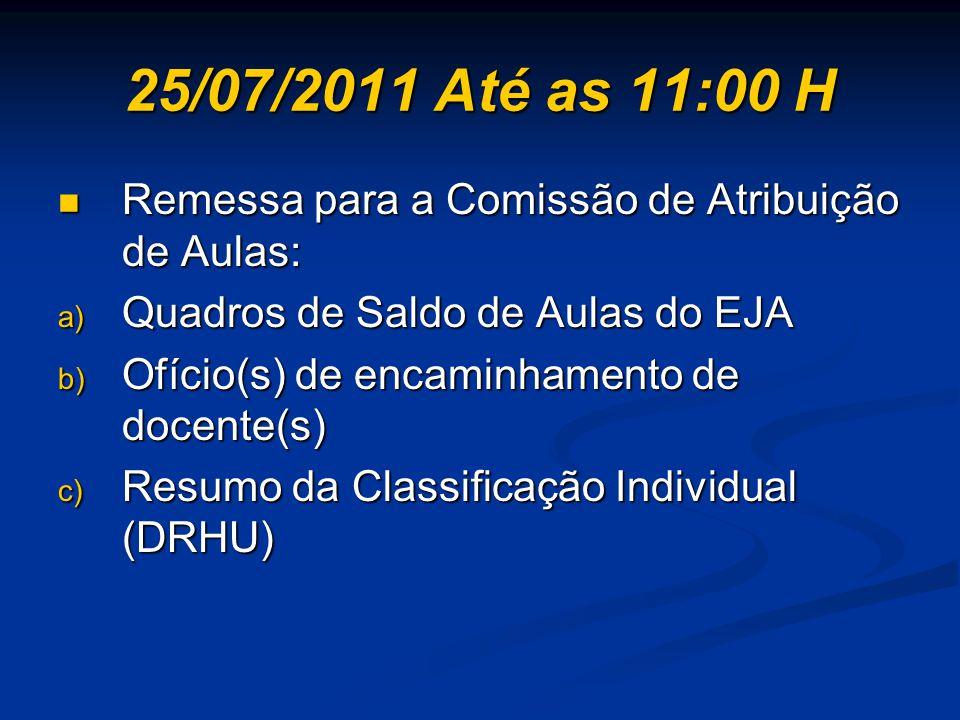 25/07/2011 Até as 11:00 H Remessa para a Comissão de Atribuição de Aulas: Quadros de Saldo de Aulas do EJA.