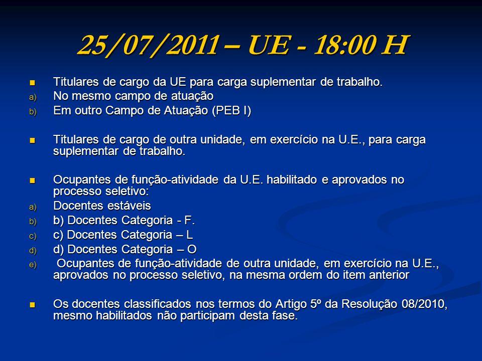 25/07/2011 – UE - 18:00 H Titulares de cargo da UE para carga suplementar de trabalho. No mesmo campo de atuação.