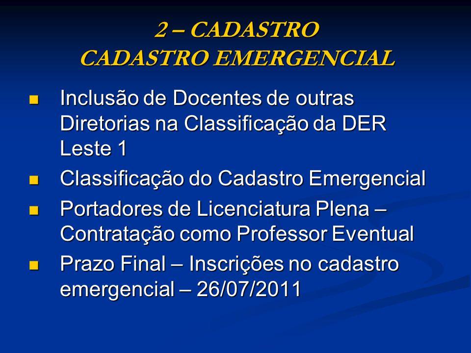 2 – CADASTRO CADASTRO EMERGENCIAL