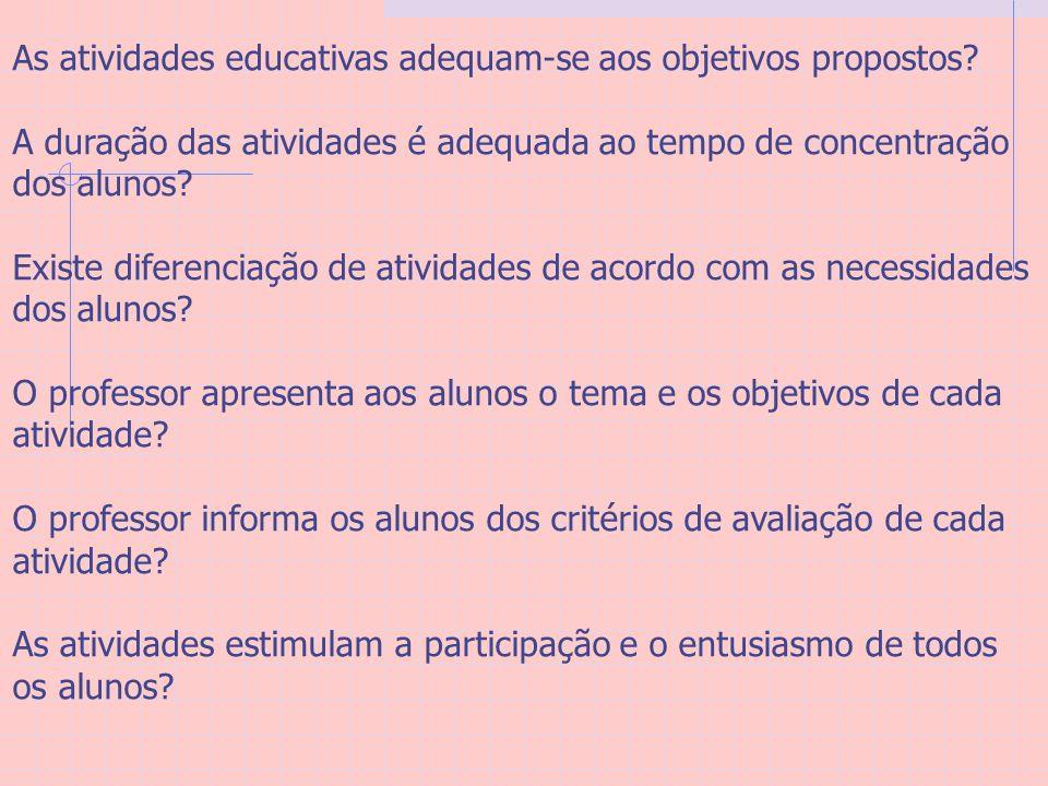 As atividades educativas adequam-se aos objetivos propostos
