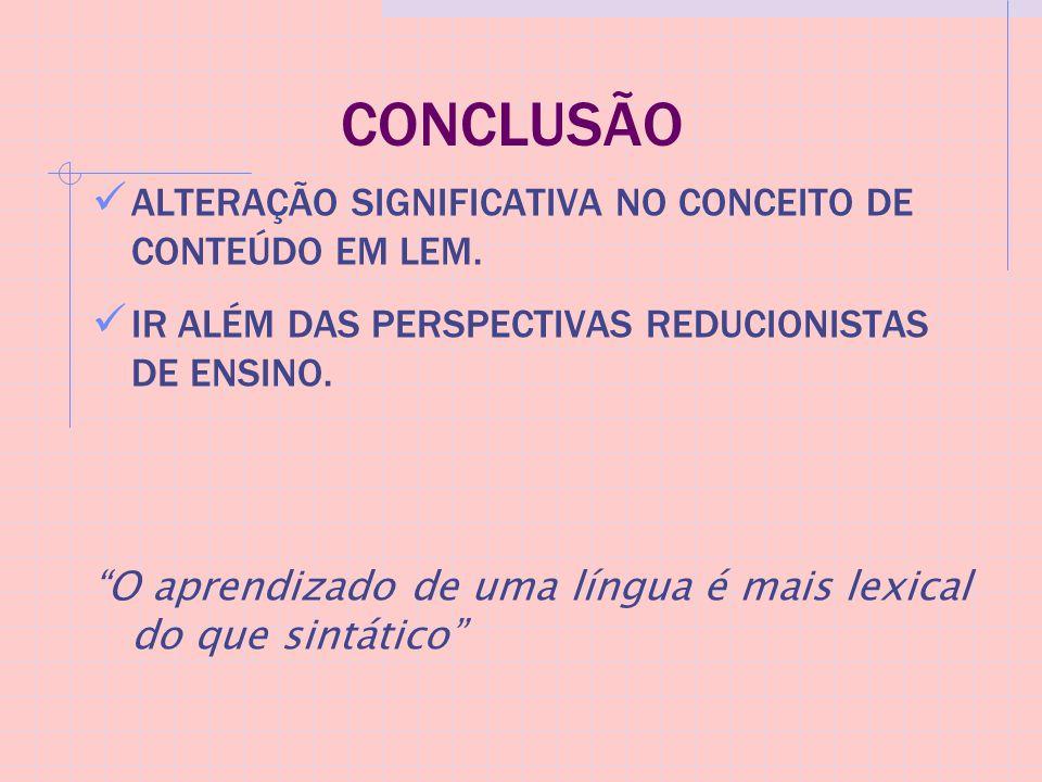 CONCLUSÃO ALTERAÇÃO SIGNIFICATIVA NO CONCEITO DE CONTEÚDO EM LEM.