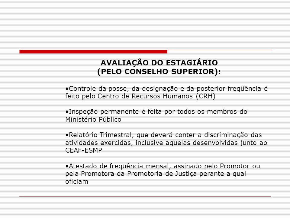 AVALIAÇÃO DO ESTAGIÁRIO (PELO CONSELHO SUPERIOR):