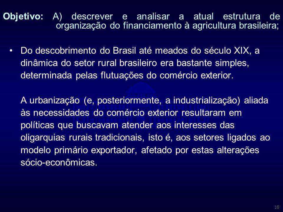 Objetivo: A) descrever e analisar a atual estrutura de organização do financiamento à agricultura brasileira;