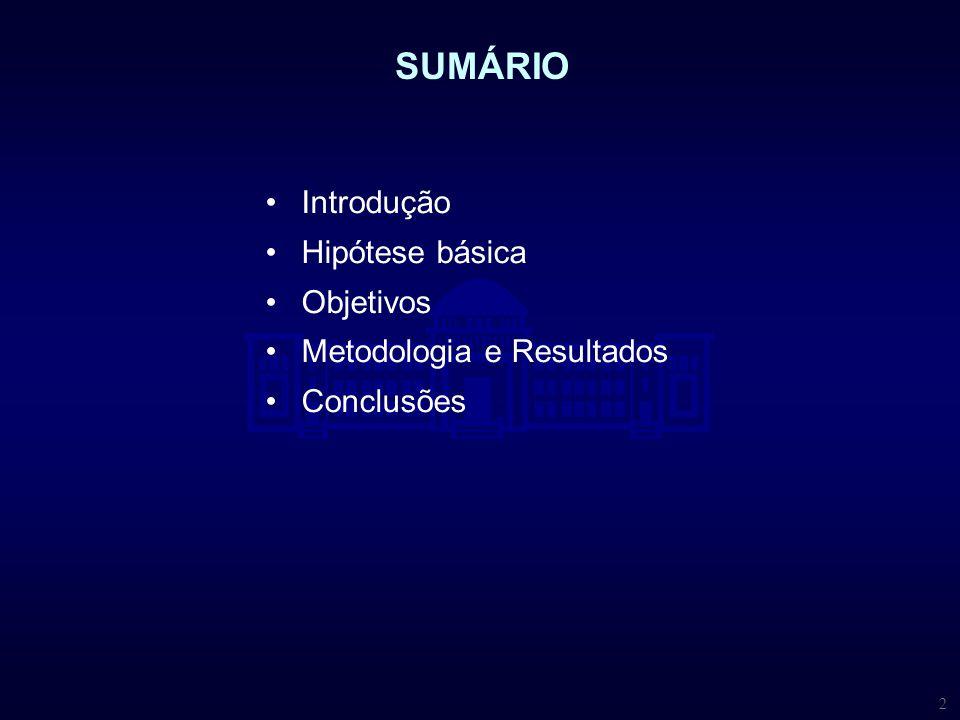 SUMÁRIO Introdução Hipótese básica Objetivos Metodologia e Resultados