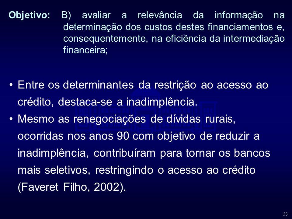 Objetivo: B) avaliar a relevância da informação na determinação dos custos destes financiamentos e, consequentemente, na eficiência da intermediação financeira;