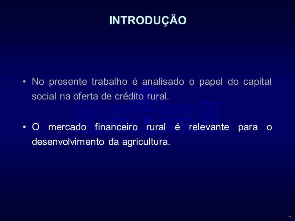 INTRODUÇÃO No presente trabalho é analisado o papel do capital social na oferta de crédito rural.