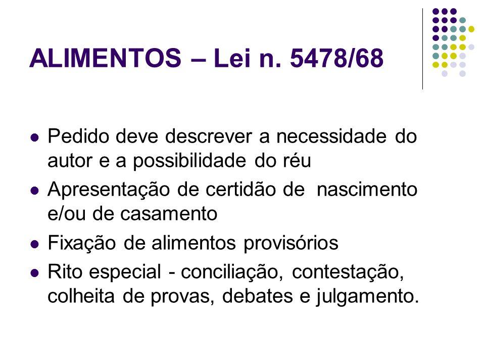 ALIMENTOS – Lei n. 5478/68 Pedido deve descrever a necessidade do autor e a possibilidade do réu.