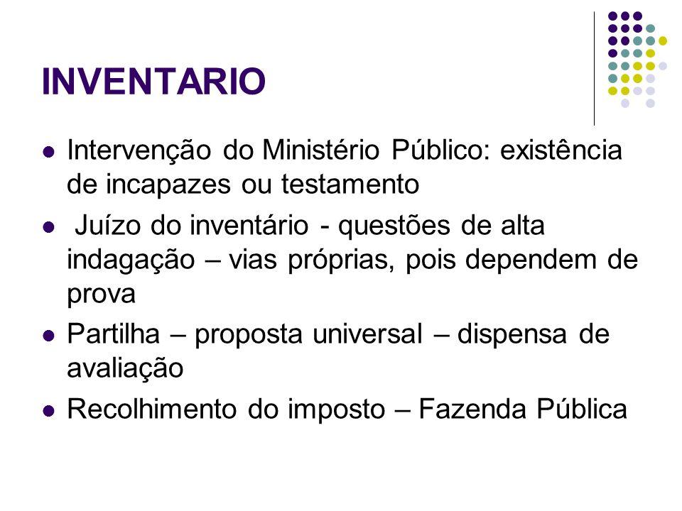 INVENTARIO Intervenção do Ministério Público: existência de incapazes ou testamento.