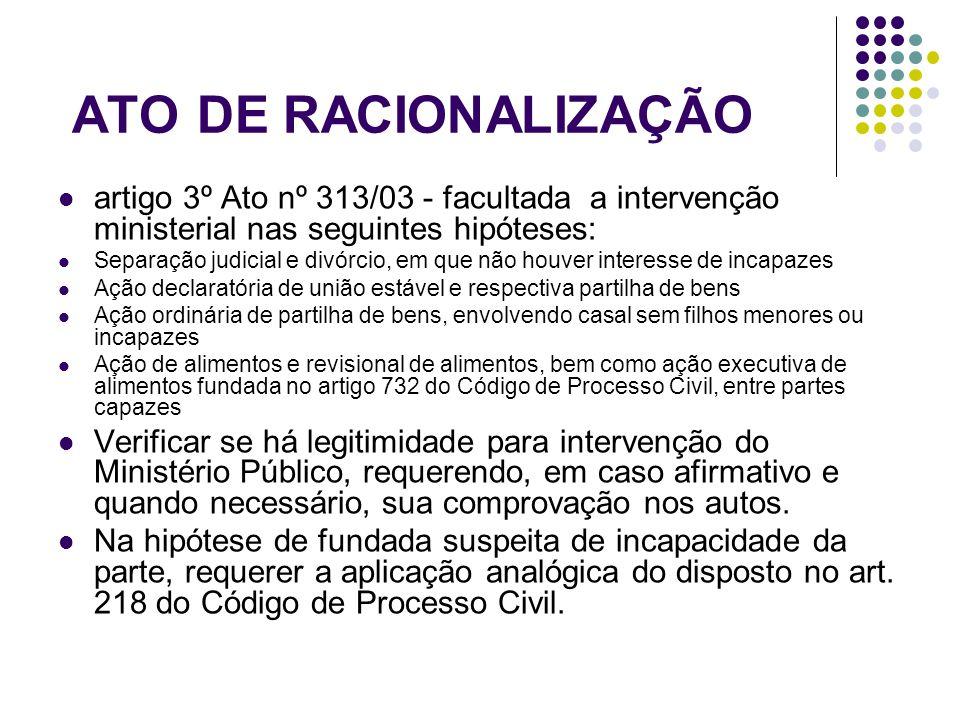 ATO DE RACIONALIZAÇÃO artigo 3º Ato nº 313/03 - facultada a intervenção ministerial nas seguintes hipóteses: