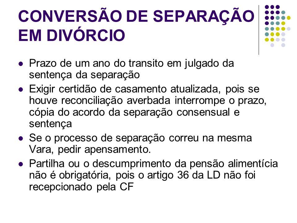 CONVERSÃO DE SEPARAÇÃO EM DIVÓRCIO