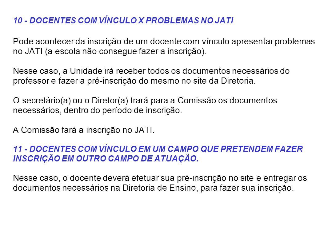 10 - DOCENTES COM VÍNCULO X PROBLEMAS NO JATI