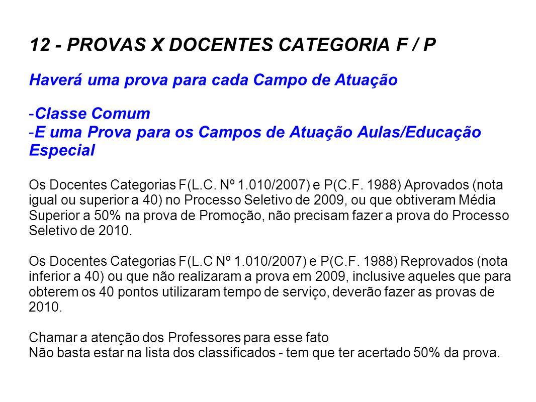 12 - PROVAS X DOCENTES CATEGORIA F / P