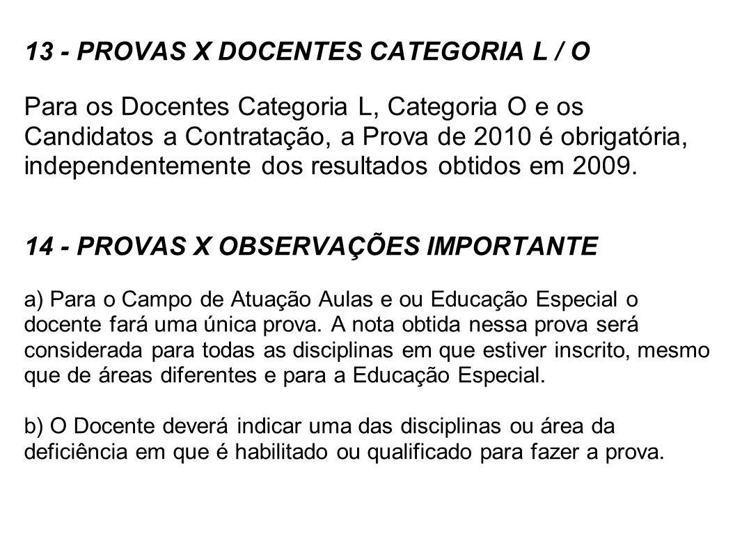 13 - PROVAS X DOCENTES CATEGORIA L / O
