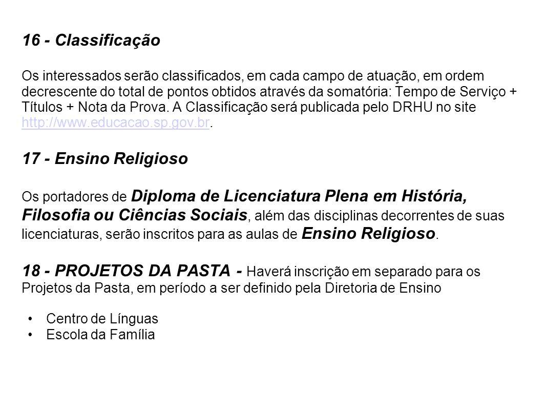 16 - Classificação 17 - Ensino Religioso