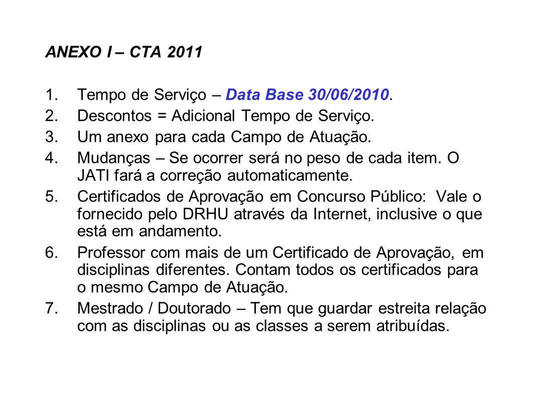 ANEXO I – CTA 2011 Tempo de Serviço – Data Base 30/06/2010. Descontos = Adicional Tempo de Serviço.