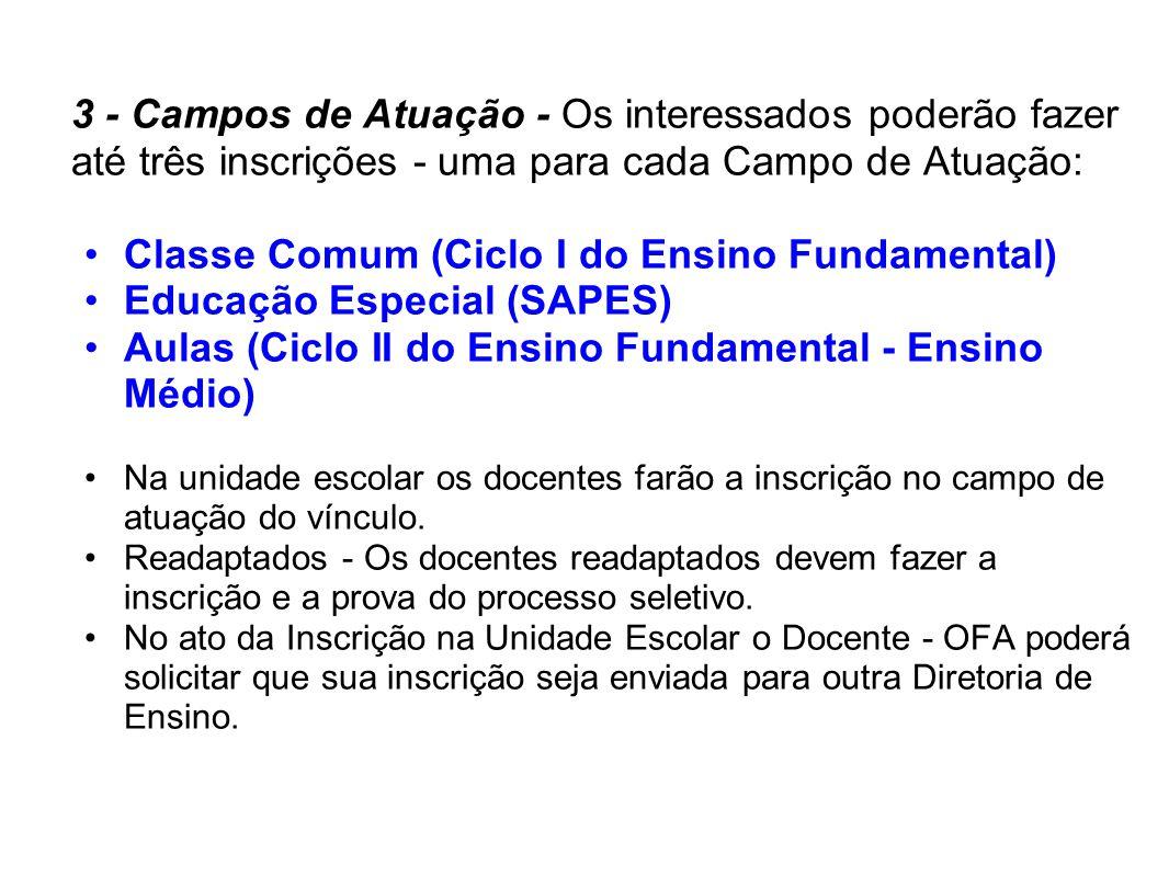 Classe Comum (Ciclo I do Ensino Fundamental) Educação Especial (SAPES)