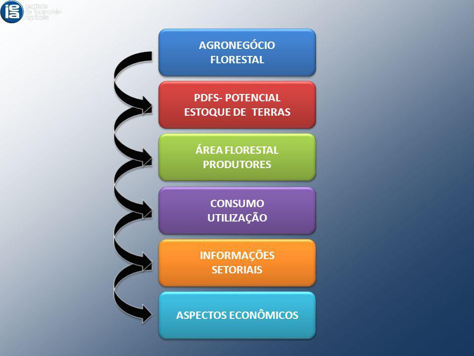 AGRONEGÓCIO FLORESTAL. PDFS- POTENCIAL. ESTOQUE DE TERRAS. ÁREA FLORESTAL. PRODUTORES. CONSUMO.