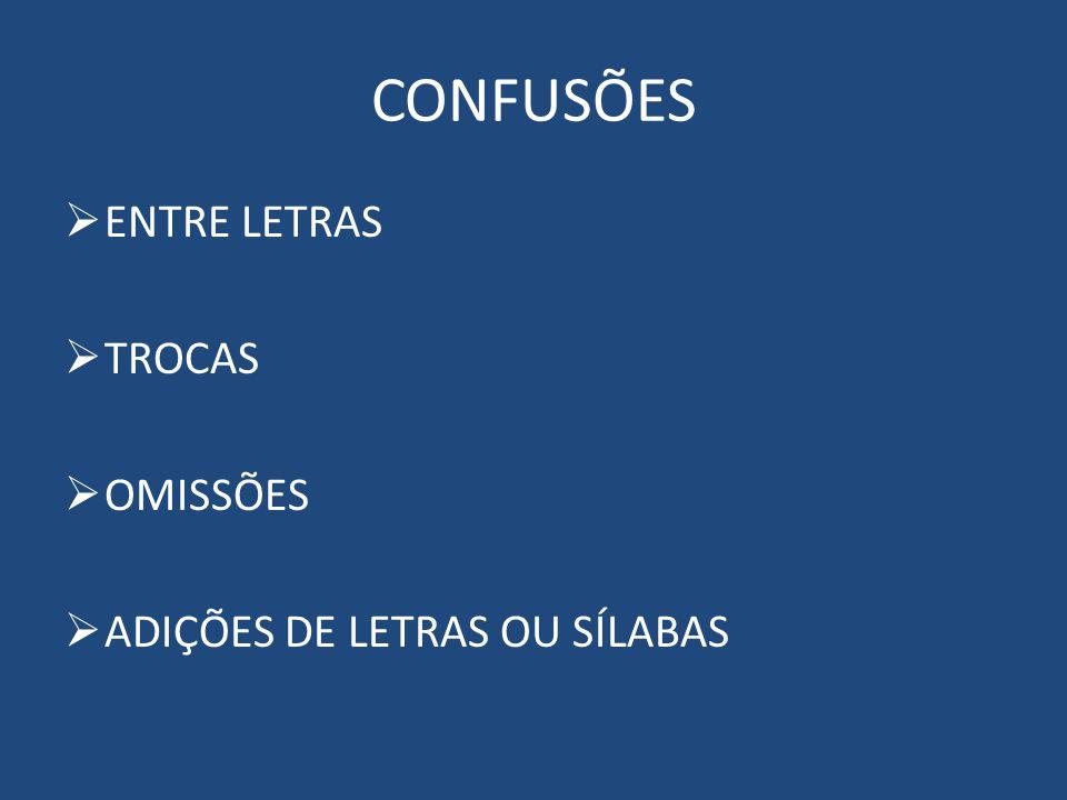 CONFUSÕES ENTRE LETRAS TROCAS OMISSÕES ADIÇÕES DE LETRAS OU SÍLABAS