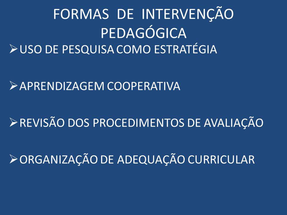 FORMAS DE INTERVENÇÃO PEDAGÓGICA