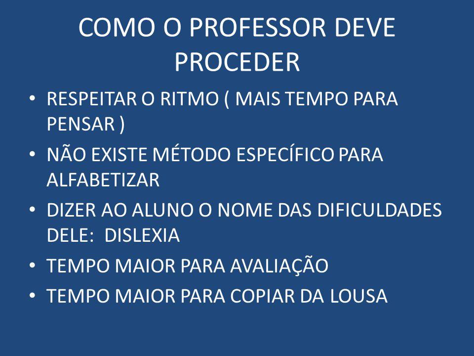 COMO O PROFESSOR DEVE PROCEDER