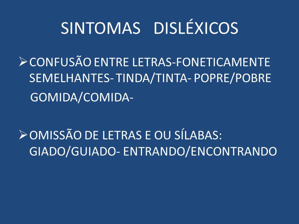SINTOMAS DISLÉXICOS CONFUSÃO ENTRE LETRAS-FONETICAMENTE SEMELHANTES- TINDA/TINTA- POPRE/POBRE. GOMIDA/COMIDA-