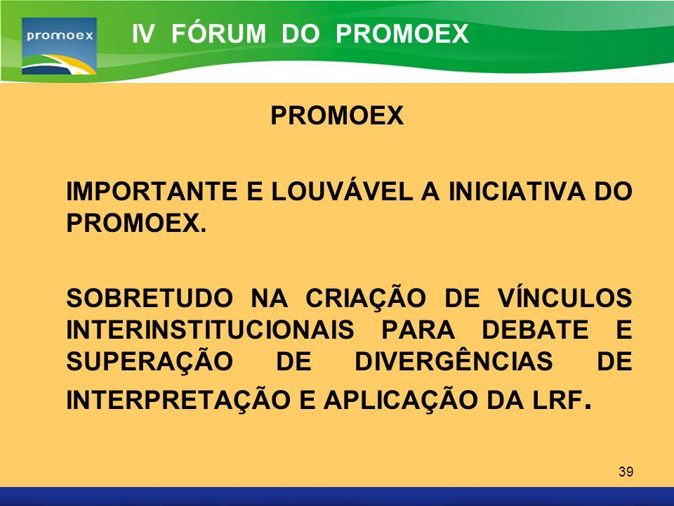 IV FÓRUM DO PROMOEX PROMOEX. IMPORTANTE E LOUVÁVEL A INICIATIVA DO PROMOEX.