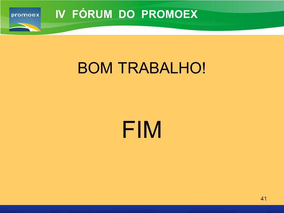 IV FÓRUM DO PROMOEX BOM TRABALHO! FIM