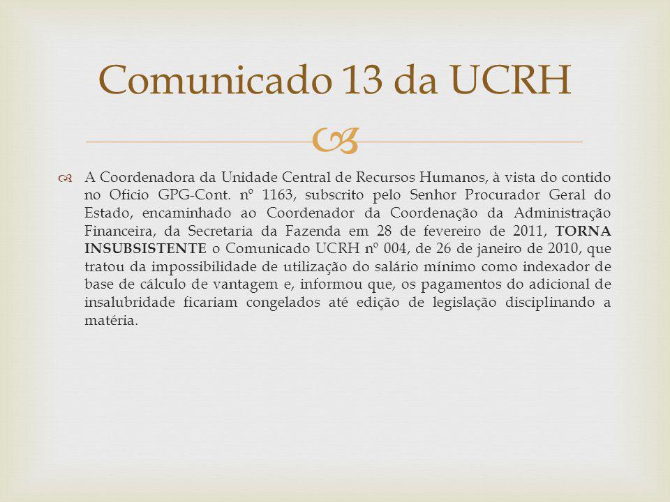 Comunicado 13 da UCRH