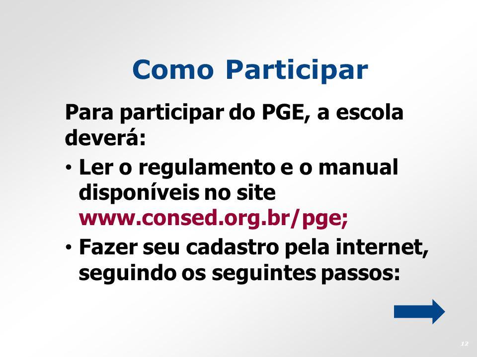 Como Participar Para participar do PGE, a escola deverá: