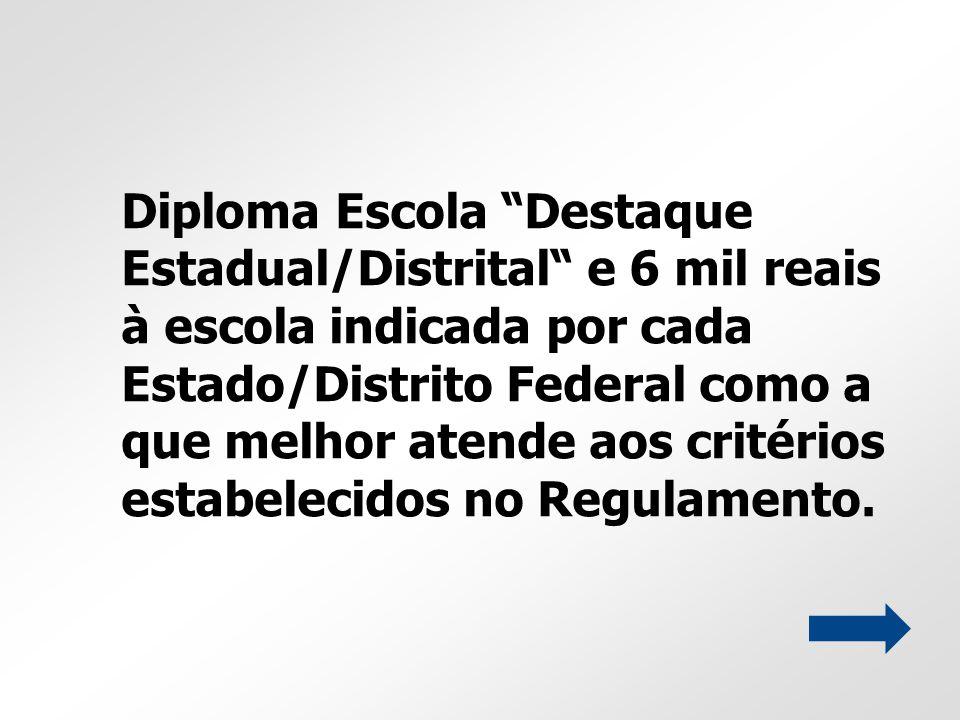 Diploma Escola Destaque Estadual/Distrital e 6 mil reais à escola indicada por cada Estado/Distrito Federal como a que melhor atende aos critérios estabelecidos no Regulamento.