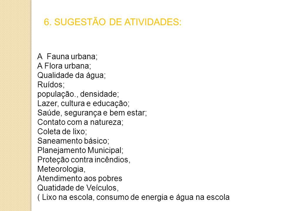 6. SUGESTÃO DE ATIVIDADES: