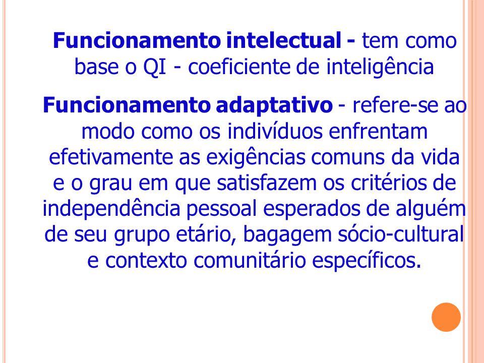 Funcionamento intelectual - tem como base o QI - coeficiente de inteligência