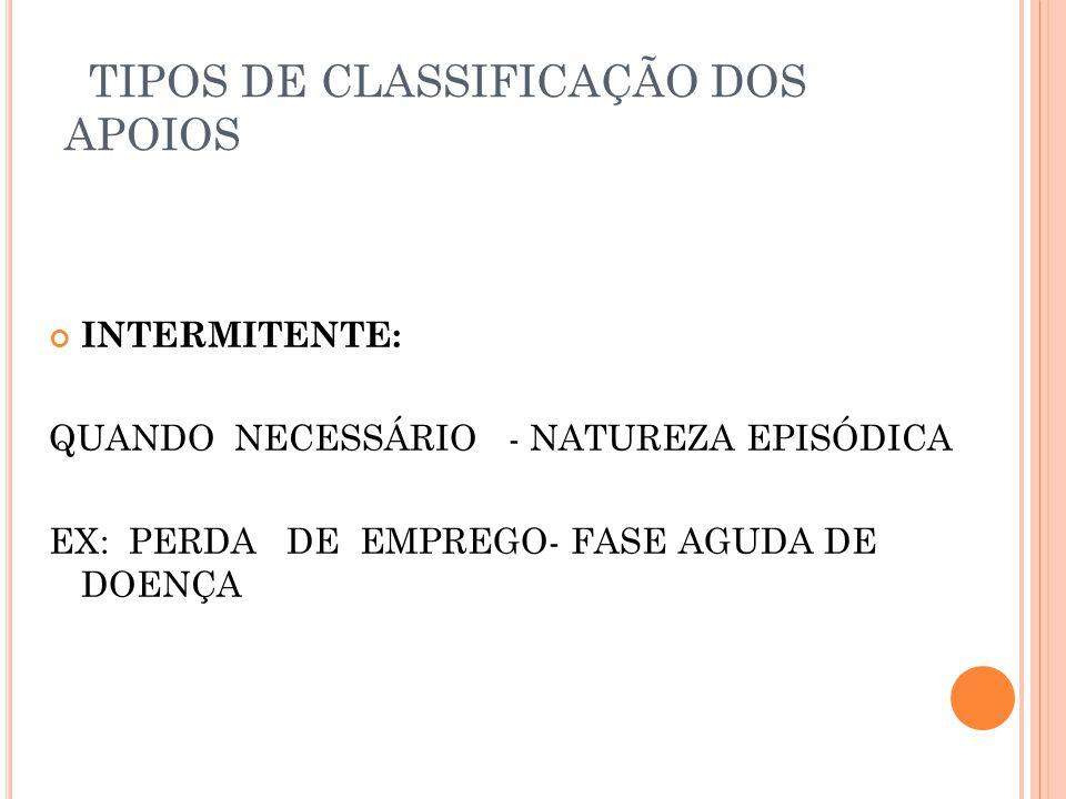 TIPOS DE CLASSIFICAÇÃO DOS APOIOS