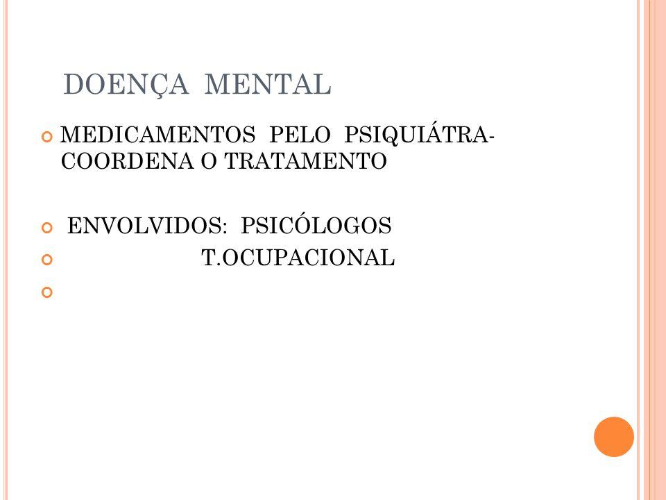 DOENÇA MENTAL MEDICAMENTOS PELO PSIQUIÁTRA- COORDENA O TRATAMENTO