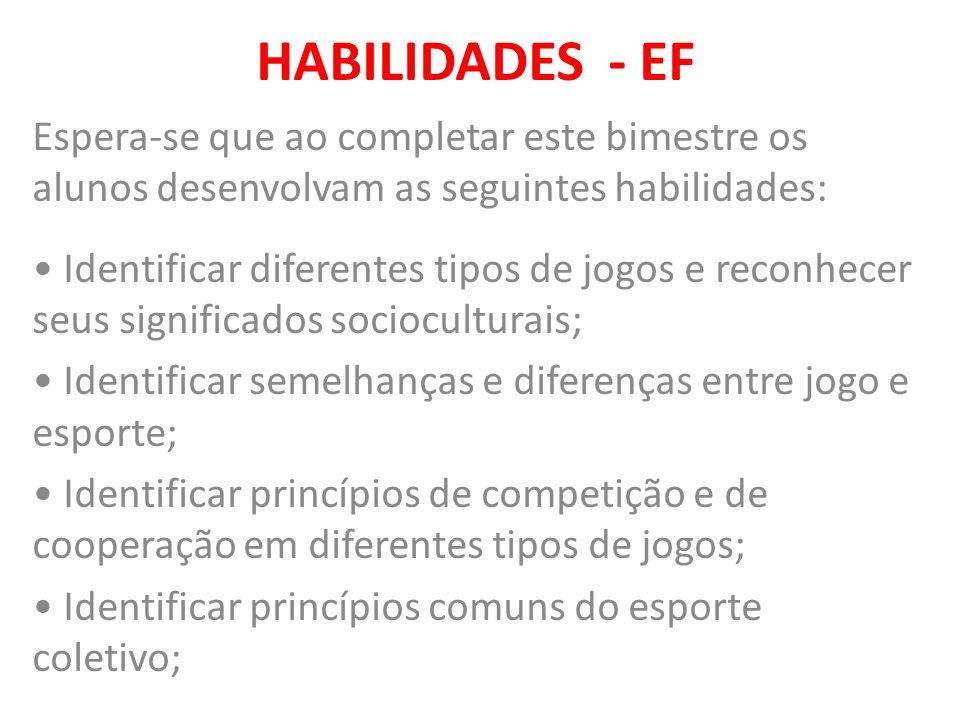 HABILIDADES - EF Espera-se que ao completar este bimestre os alunos desenvolvam as seguintes habilidades: