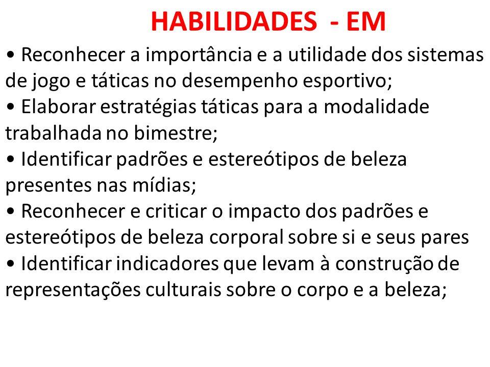 HABILIDADES - EM • Reconhecer a importância e a utilidade dos sistemas de jogo e táticas no desempenho esportivo;