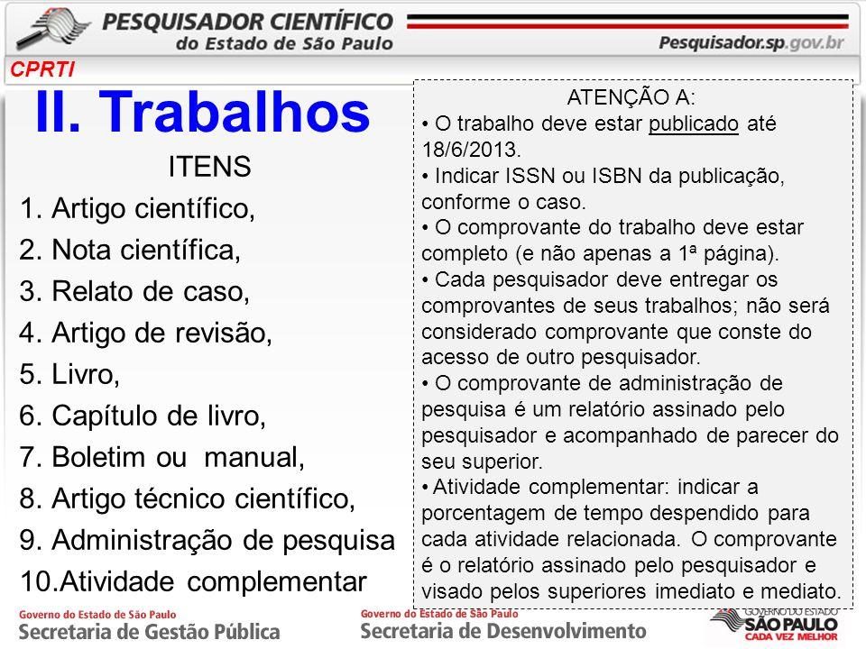 II. Trabalhos ITENS Artigo científico, Nota científica,