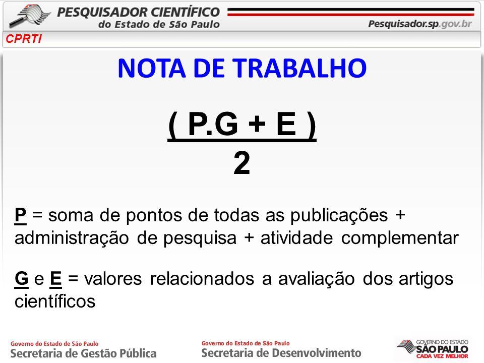 ( P.G + E ) 2 NOTA DE TRABALHO