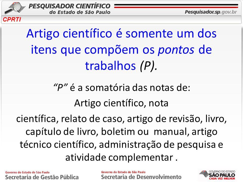 Artigo científico é somente um dos itens que compõem os pontos de trabalhos (P).