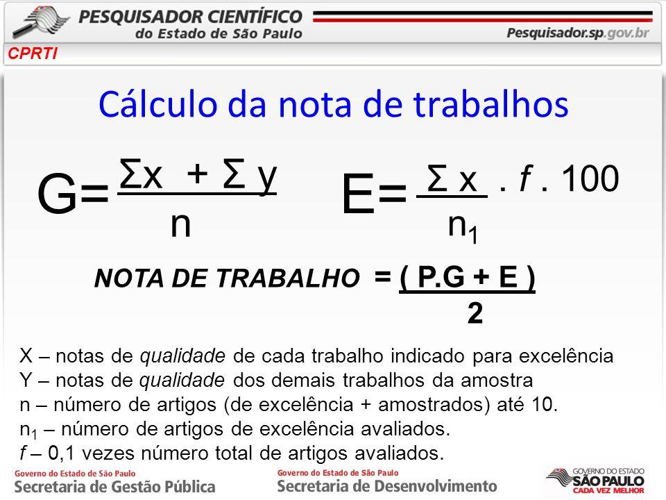 Cálculo da nota de trabalhos