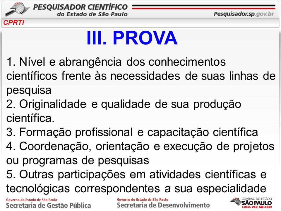 III. PROVA