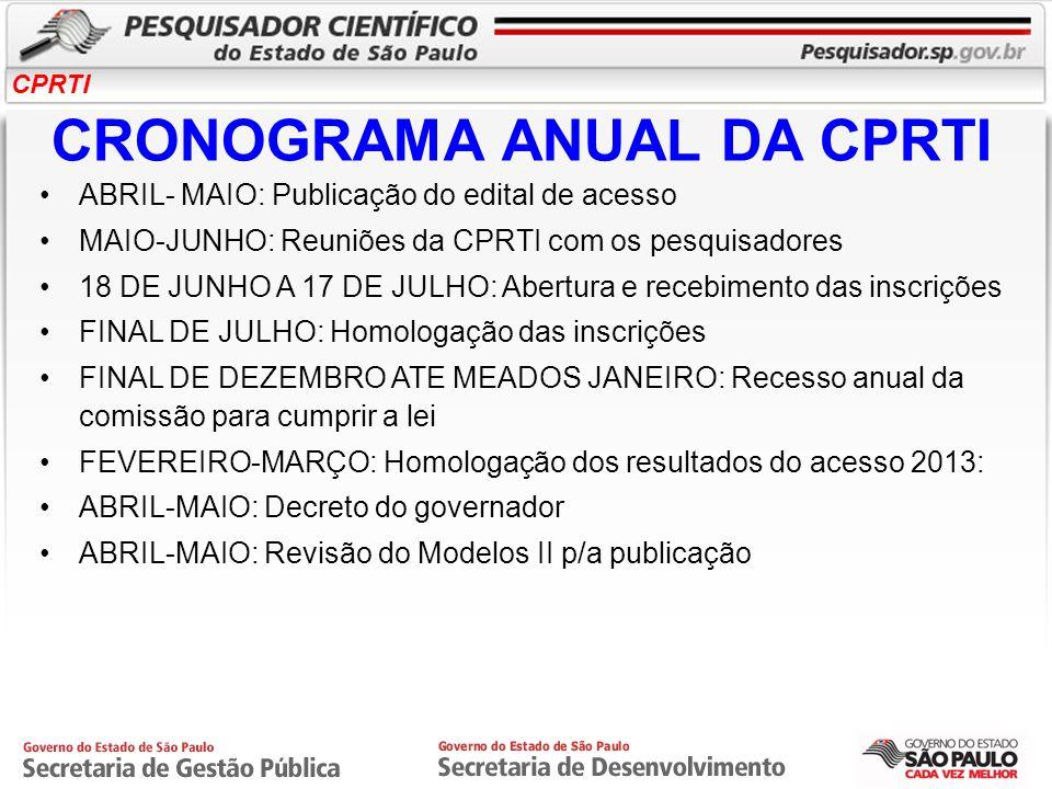 CRONOGRAMA ANUAL DA CPRTI