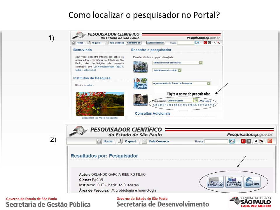 Como localizar o pesquisador no Portal