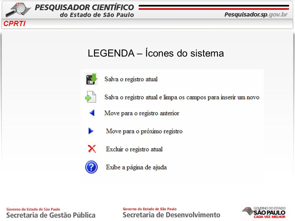 LEGENDA – Ícones do sistema
