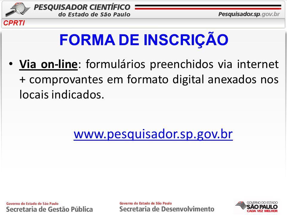 FORMA DE INSCRIÇÃO www.pesquisador.sp.gov.br