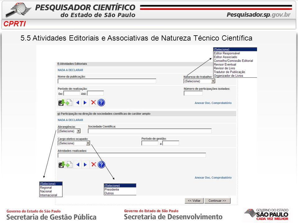 5.5 Atividades Editoriais e Associativas de Natureza Técnico Científica