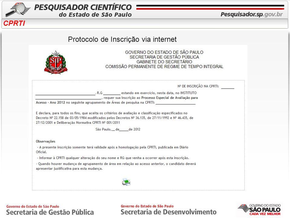 Protocolo de Inscrição via internet
