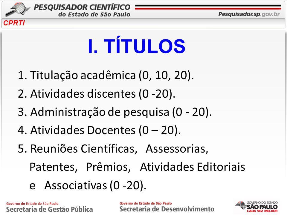 I. TÍTULOS