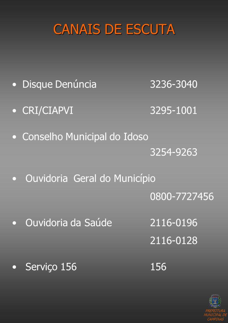 CANAIS DE ESCUTA Disque Denúncia 3236-3040 CRI/CIAPVI 3295-1001