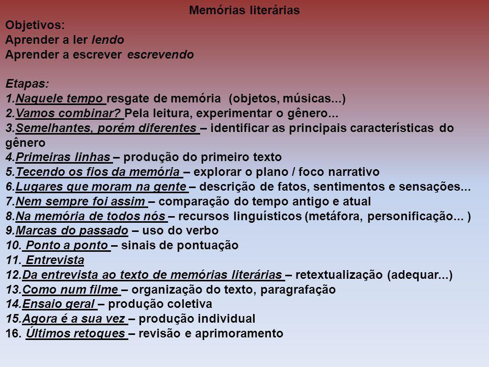 Memórias literárias Objetivos: Aprender a ler lendo. Aprender a escrever escrevendo. Etapas: